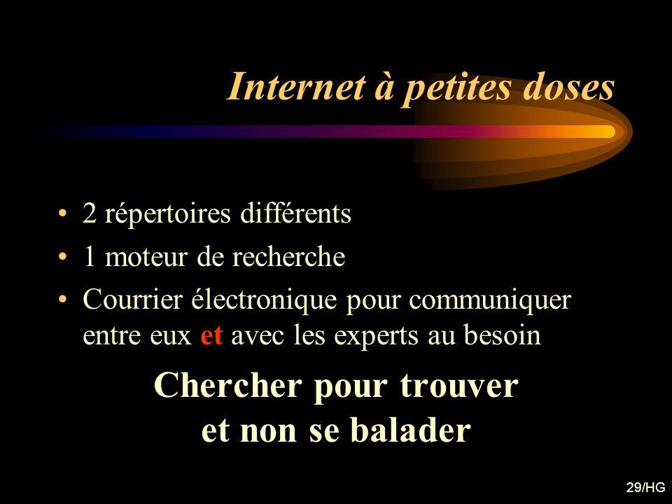 29/HG Internet à petites doses 2 répertoires différents 1 moteur de recherche Courrier électronique pour communiquer entre eux et avec les experts au