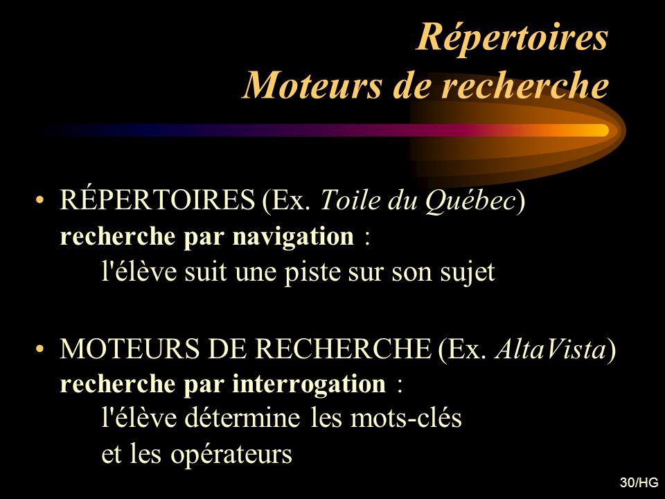 30/HG Répertoires Moteurs de recherche RÉPERTOIRES (Ex. Toile du Québec) recherche par navigation : l'élève suit une piste sur son sujet MOTEURS DE RE