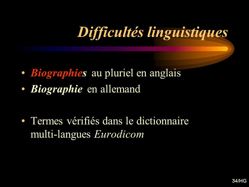 34/HG Difficultés linguistiques Biographies au pluriel en anglais Biographie en allemand Termes vérifiés dans le dictionnaire multi-langues Eurodicom