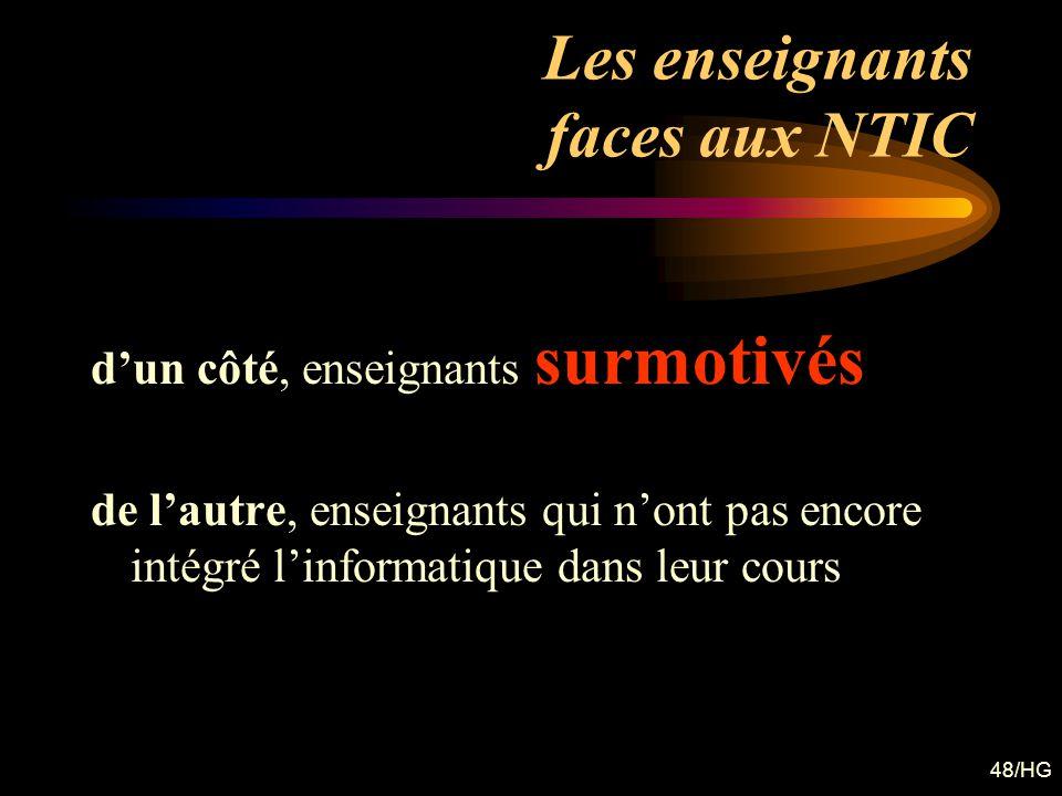 48/HG Les enseignants faces aux NTIC dun côté, enseignants surmotivés de lautre, enseignants qui nont pas encore intégré linformatique dans leur cours