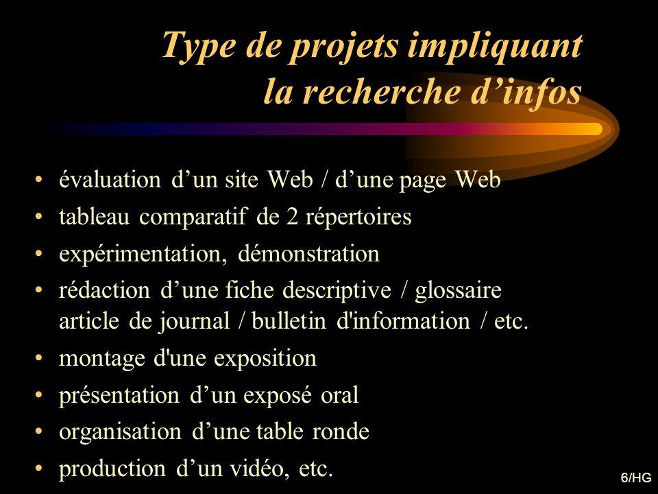 6/HG Type de projets impliquant la recherche dinfos évaluation dun site Web / dune page Web tableau comparatif de 2 répertoires expérimentation, démon
