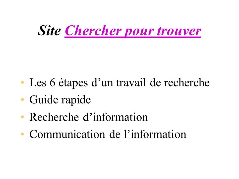 Site Chercher pour trouverChercher pour trouver Les 6 étapes dun travail de recherche Guide rapide Recherche dinformation Communication de linformatio