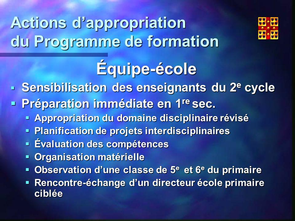 Actions dappropriation du Programme de formation Équipe-école Sensibilisation des enseignants du 2 e cycle Sensibilisation des enseignants du 2 e cycle Préparation immédiate en 1 re sec.