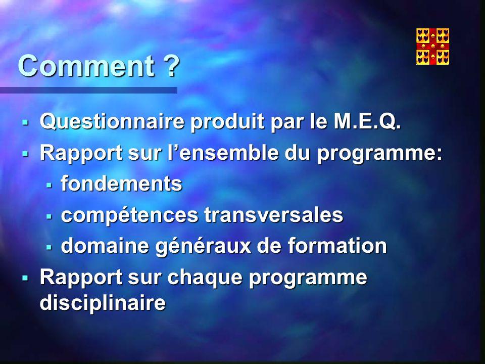 Comment . Questionnaire produit par le M.E.Q. Questionnaire produit par le M.E.Q.