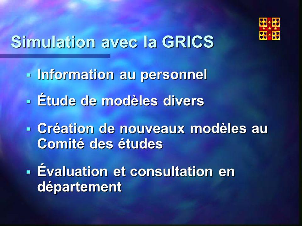 Simulation avec la GRICS Information au personnel Information au personnel Étude de modèles divers Étude de modèles divers Création de nouveaux modèles au Comité des études Création de nouveaux modèles au Comité des études Évaluation et consultation en département Évaluation et consultation en département