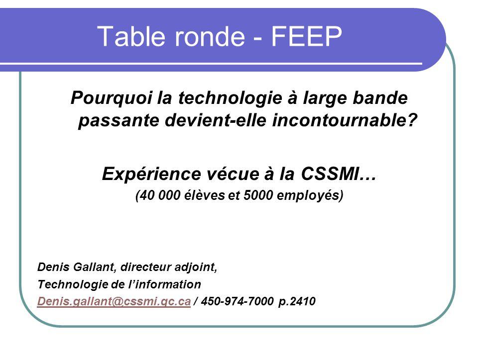 Table ronde - FEEP Pourquoi la technologie à large bande passante devient-elle incontournable? Expérience vécue à la CSSMI… (40 000 élèves et 5000 emp