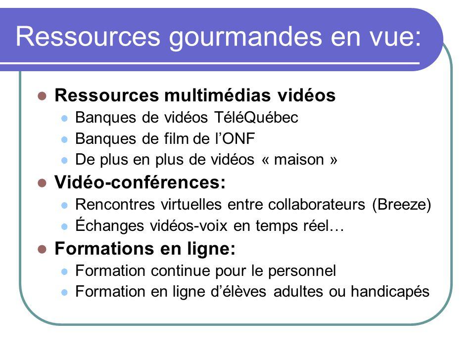 Ressources gourmandes en vue: Ressources multimédias vidéos Banques de vidéos TéléQuébec Banques de film de lONF De plus en plus de vidéos « maison » Vidéo-conférences: Rencontres virtuelles entre collaborateurs (Breeze) Échanges vidéos-voix en temps réel… Formations en ligne: Formation continue pour le personnel Formation en ligne délèves adultes ou handicapés