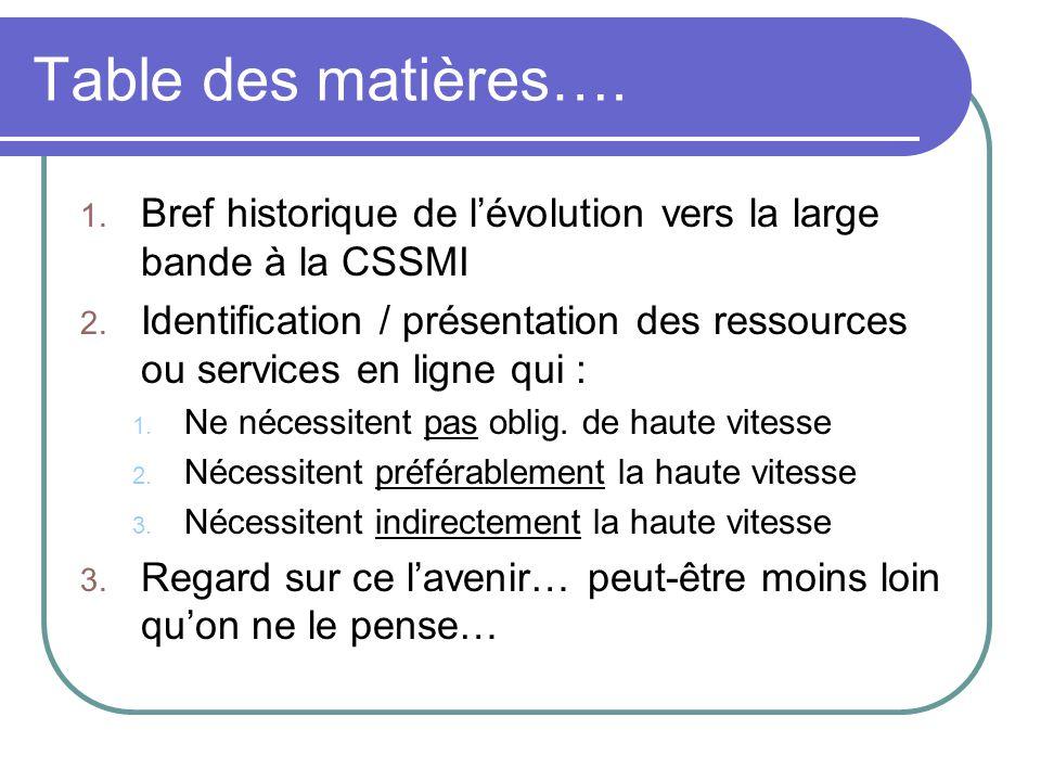 Table des matières…. 1. Bref historique de lévolution vers la large bande à la CSSMI 2. Identification / présentation des ressources ou services en li