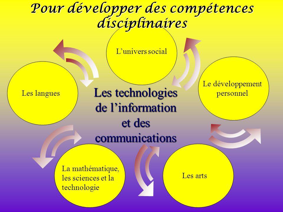 Les technologies de linformation et des communications La mathématique, les sciences et la technologie Les artsLes langues Le développement personnel Lunivers social Pour développer des compétences disciplinaires