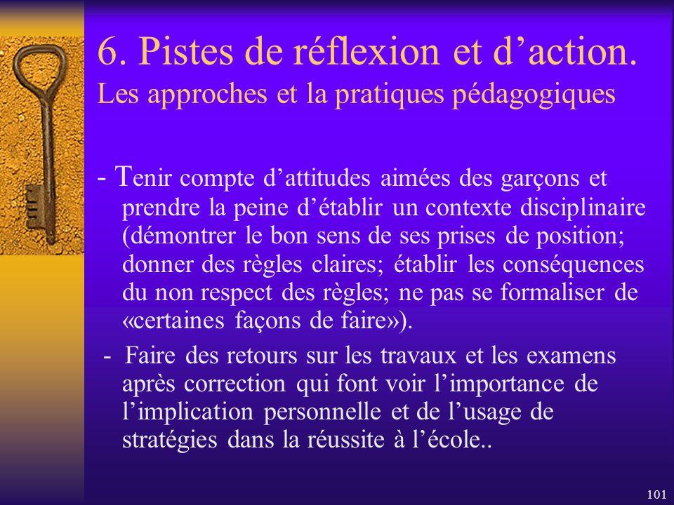100 6. Pistes de réflexion et daction. Les approches et la pratiques pédagogiques - Sassurer quil y ait moins de «distracteurs» possible quand les élè