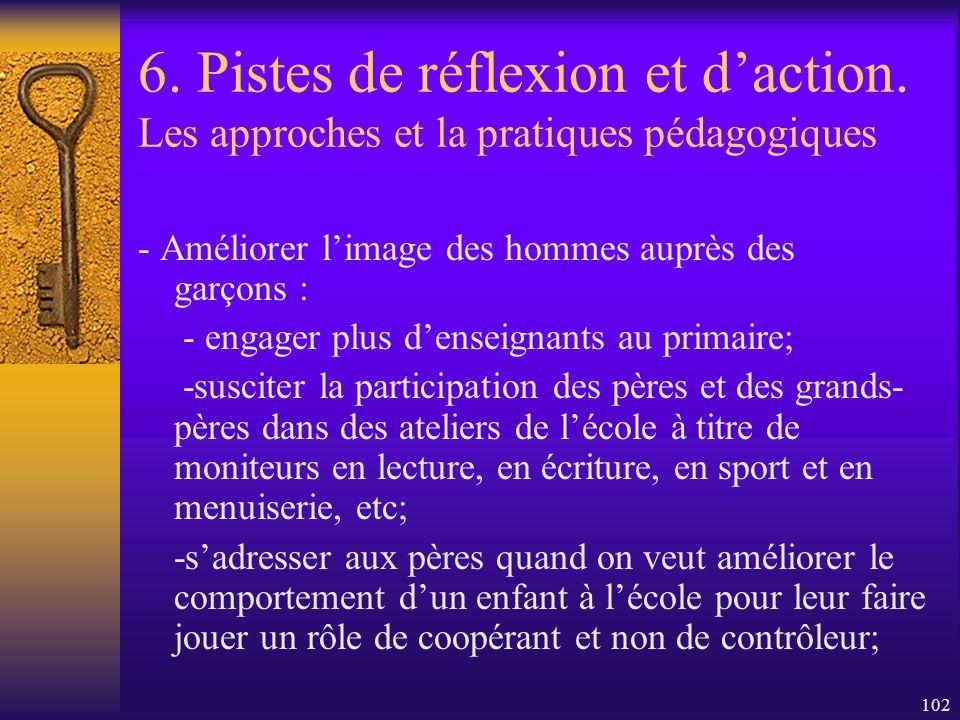 101 6. Pistes de réflexion et daction. Les approches et la pratiques pédagogiques - T enir compte dattitudes aimées des garçons et prendre la peine dé