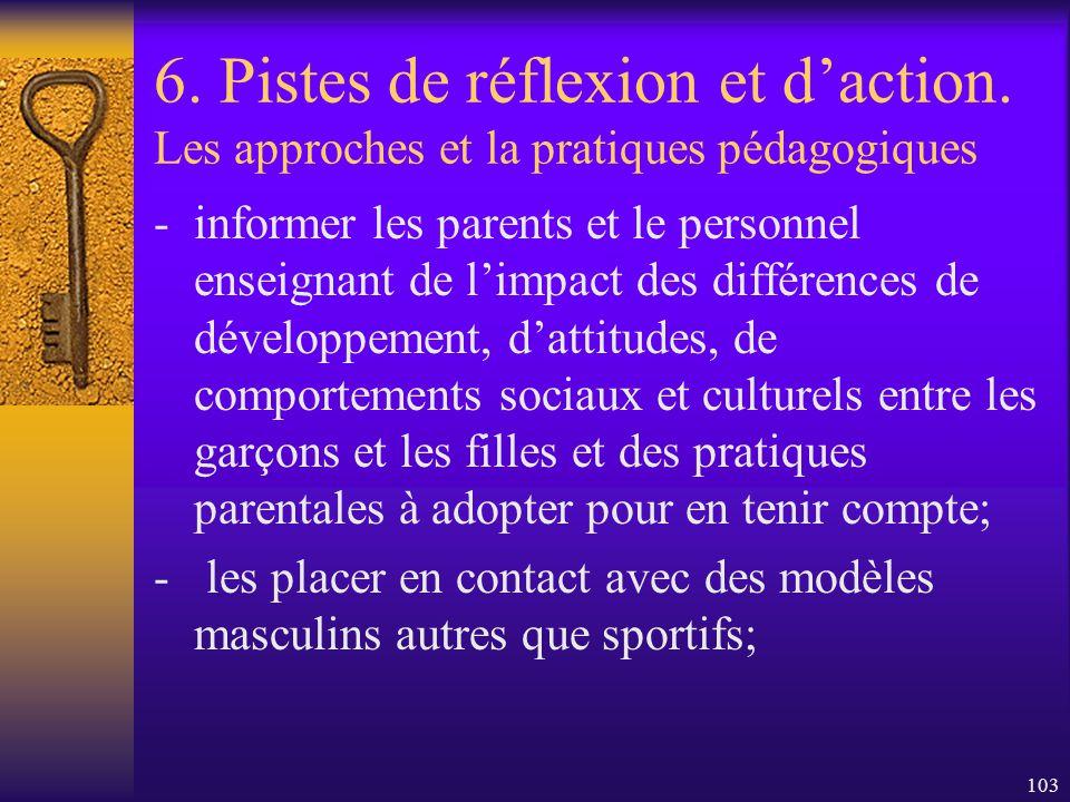 102 6. Pistes de réflexion et daction. Les approches et la pratiques pédagogiques - Améliorer limage des hommes auprès des garçons : - engager plus de