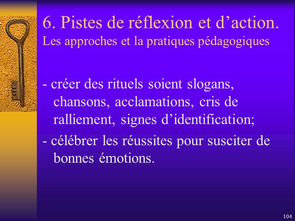 103 6. Pistes de réflexion et daction. Les approches et la pratiques pédagogiques -informer les parents et le personnel enseignant de limpact des diff