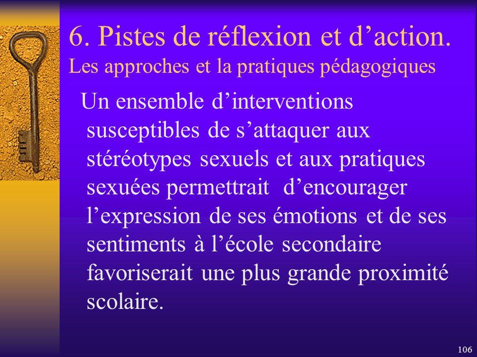 105 6. Pistes de réflexion et daction. Les approches et la pratiques pédagogiques En bref… - Toute approche pédagogique eu égard aux garçons se doit d