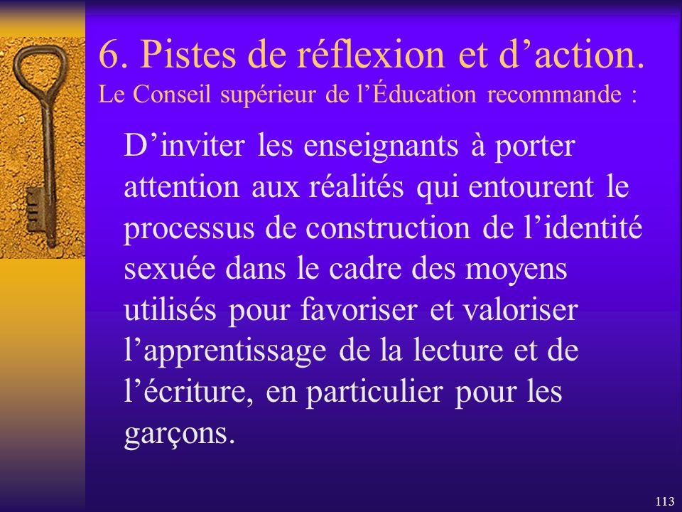 112 6. Pistes de réflexion et daction. Le Conseil supérieur de lÉducation recommande : - De soutenir lexpérimentation, dans les milieux scolaires, de