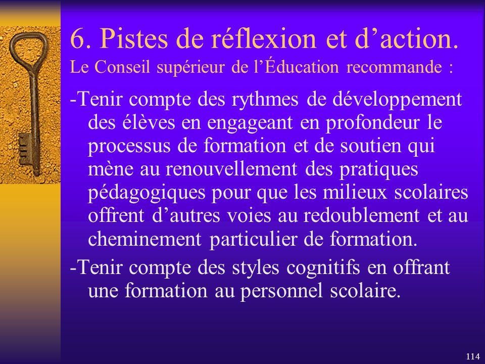 113 6. Pistes de réflexion et daction. Le Conseil supérieur de lÉducation recommande : Dinviter les enseignants à porter attention aux réalités qui en