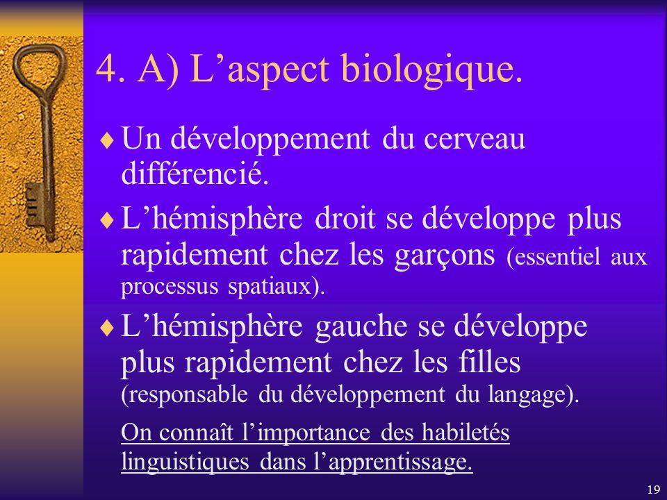 18 4. A) Laspect biologique. Vulnérabilité du sexe masculin. Plus davortements spontanés et de morts-nés chez le fœtus male. Les bébés filles ont un a