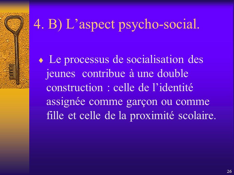 25 4. B) Laspect psycho-social. «On ne naît pas femme, on le devient». Simone de Beauvoir