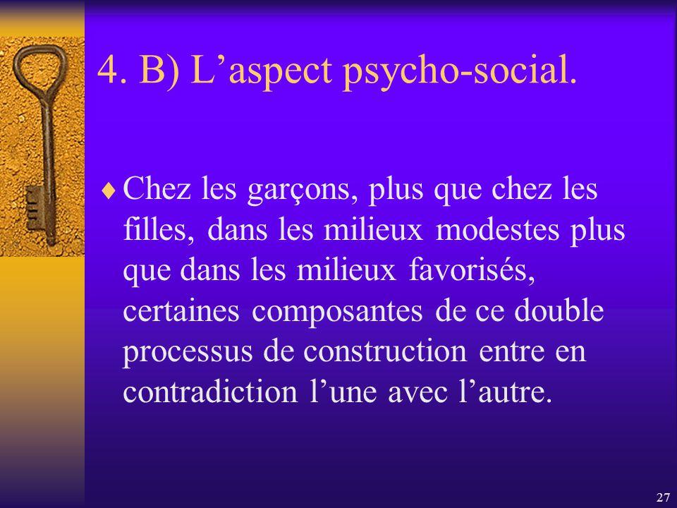 26 4. B) Laspect psycho-social. Le processus de socialisation des jeunes contribue à une double construction : celle de lidentité assignée comme garço