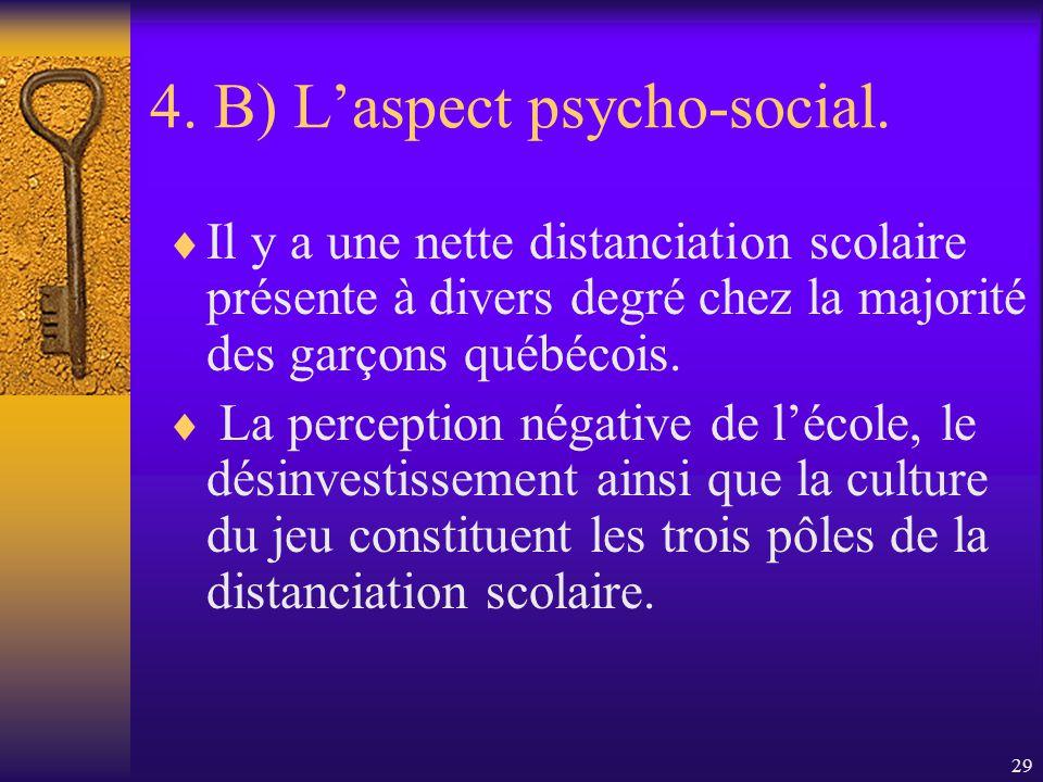 28 4. B) Laspect psycho-social. Les filles recourent peu aux stéréotypes sexuels pour se construire leur identité. Pour la majorité des garçons, le pr