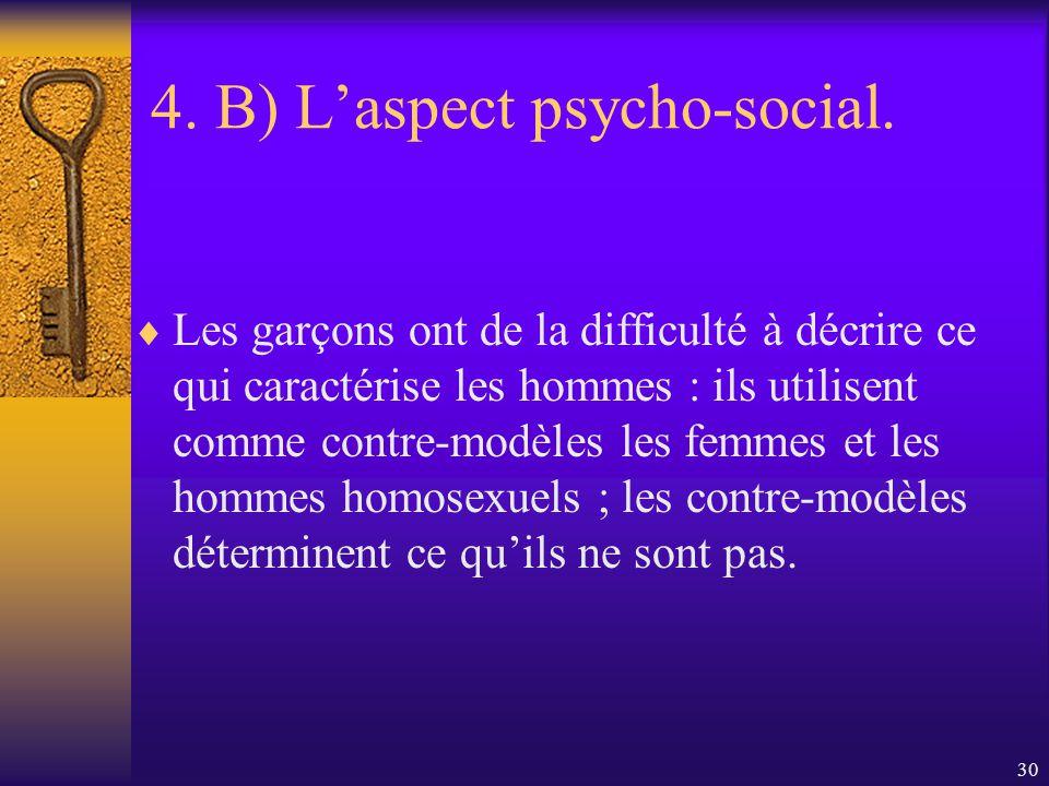 29 4. B) Laspect psycho-social. Il y a une nette distanciation scolaire présente à divers degré chez la majorité des garçons québécois. La perception