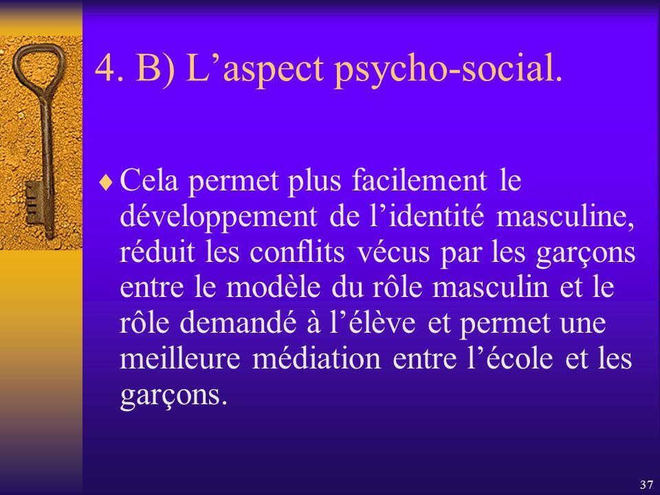 36 4. B) Laspect psycho-social. Le modèle didentification masculin pour les garçons des écoles primaires est très important.