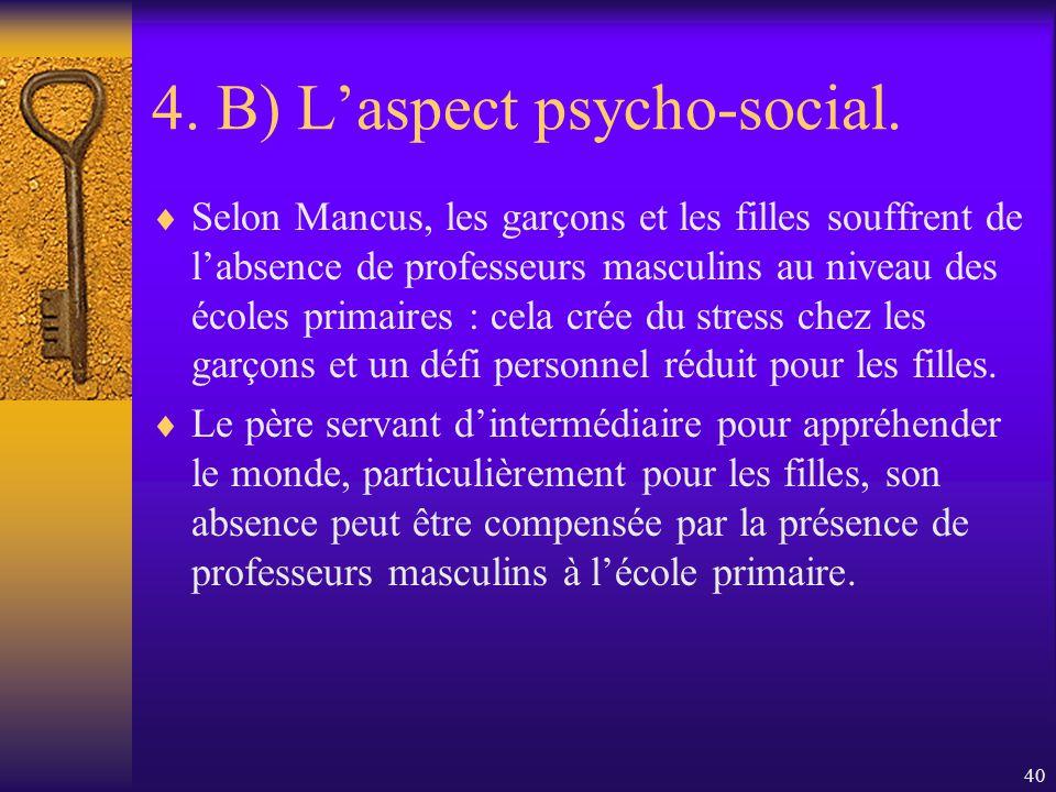 39 4. B) Laspect psycho-social. …mais aussi dû au fait quils vivent une incompatibilité entre les standards reconnus au rôle masculin et le rôle atten