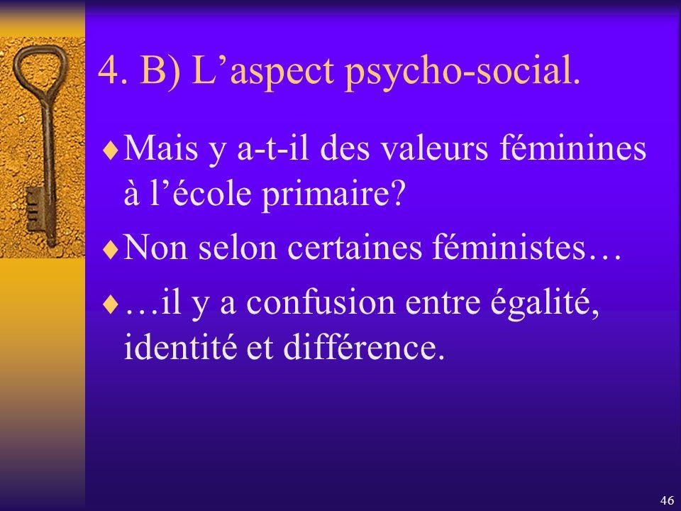 45 4. B) Laspect psycho-social. La composition, en termes de genre, du personnel de lécole influence les perceptions des élèves des écoles primaires e