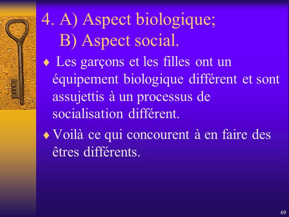 48 4. B) Laspect psycho-social. Les attentes culturelles du groupe de pairs amènent les garçons à se conformer à un comportement qui met laccent sur l
