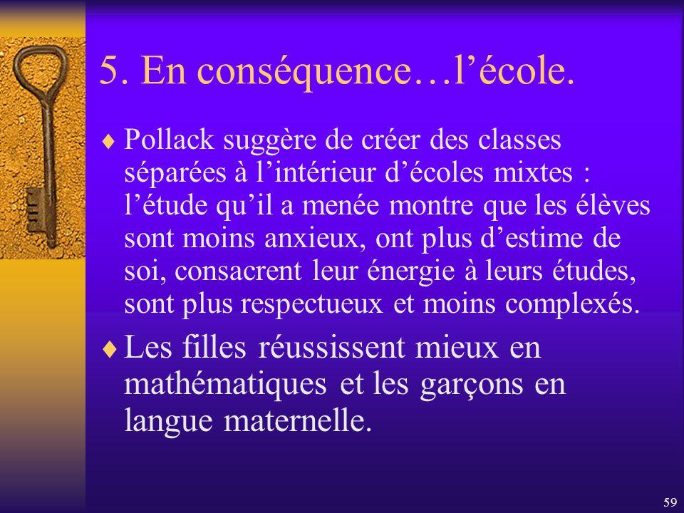 58 5. En conséquence…lécole. Et si les classes mixtes étaient justement une partie du problème?