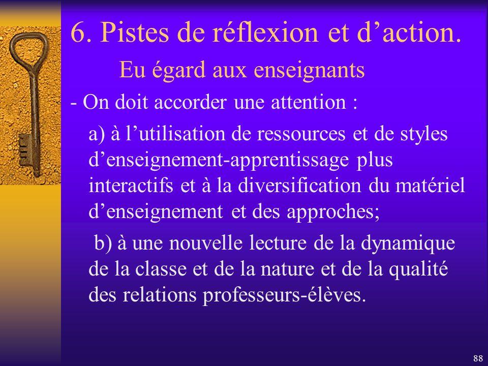 87 6. Pistes de réflexion et daction. Eu égard aux enseignants -On devra examiner la façon dont sont constitués les groupes, lorganisation de la class