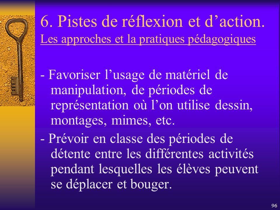 95 6. Pistes de réflexion et daction. Eu égard aux enseignants - Il faudrait laisser le temps aux enseignants de réfléchir à leurs pratiques pédagogiq