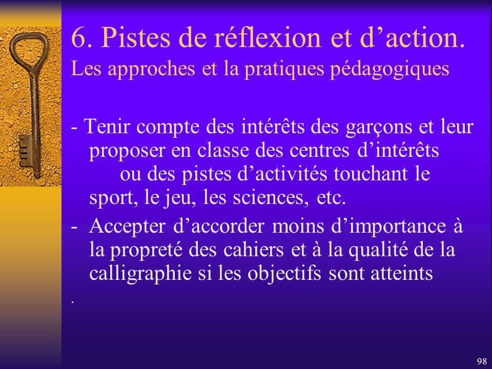 97 6. Pistes de réflexion et daction. Les approches et la pratiques pédagogiques - Tenir compte de la saisie globalisante des garçons et situer lappre