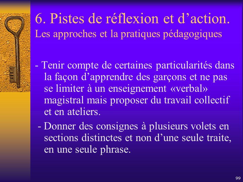 98 6. Pistes de réflexion et daction. Les approches et la pratiques pédagogiques - Tenir compte des intérêts des garçons et leur proposer en classe de