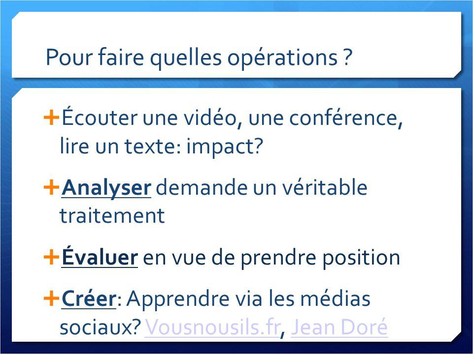 Pour faire quelles opérations ? Écouter une vidéo, une conférence, lire un texte: impact? Analyser demande un véritable traitement Évaluer en vue de p
