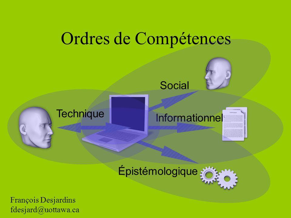 Ordres de Compétences Social Informationnel Épistémologique Technique François Desjardins fdesjard@uottawa.ca
