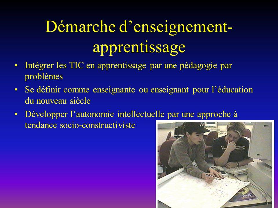 Démarche denseignement- apprentissage Intégrer les TIC en apprentissage par une pédagogie par problèmes Se définir comme enseignante ou enseignant pour léducation du nouveau siècle Développer lautonomie intellectuelle par une approche à tendance socio-constructiviste