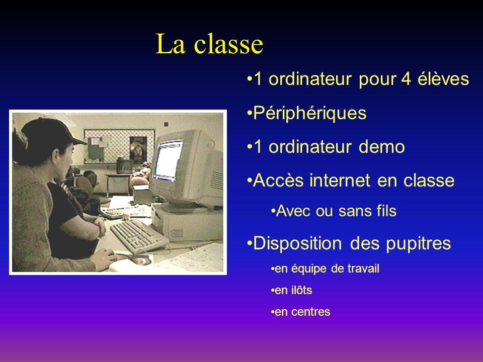 La classe 1 ordinateur pour 4 élèves Périphériques 1 ordinateur demo Accès internet en classe Avec ou sans fils Disposition des pupitres en équipe de travail en ilôts en centres