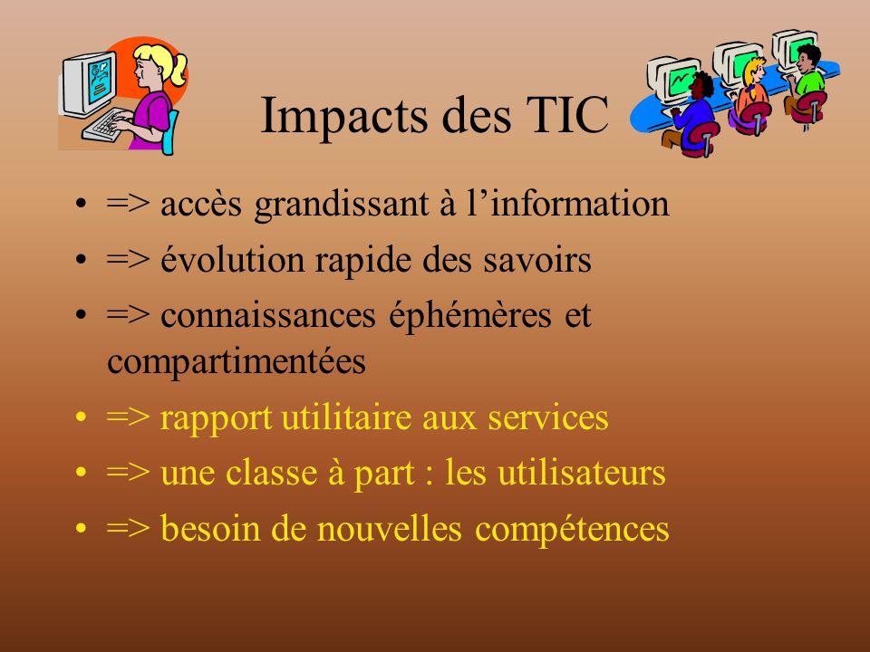 Impacts des TIC => accès grandissant à linformation => évolution rapide des savoirs => connaissances éphémères et compartimentées => rapport utilitaire aux services => une classe à part : les utilisateurs => besoin de nouvelles compétences