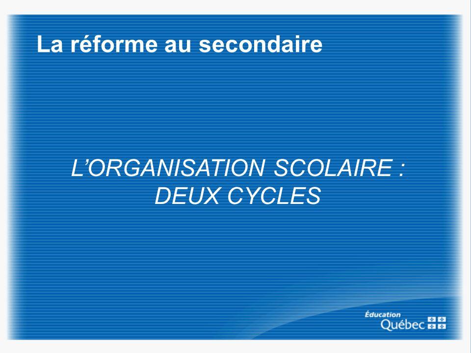 La réforme au secondaire LORGANISATION SCOLAIRE : DEUX CYCLES