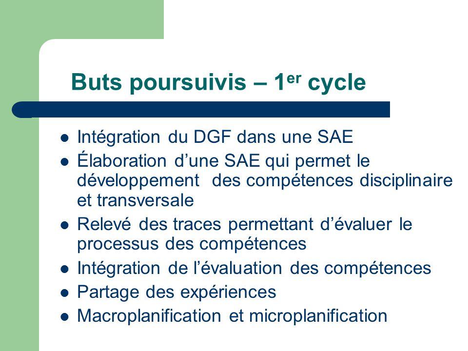 Buts poursuivis – 1 er cycle Intégration du DGF dans une SAE Élaboration dune SAE qui permet le développement des compétences disciplinaire et transve