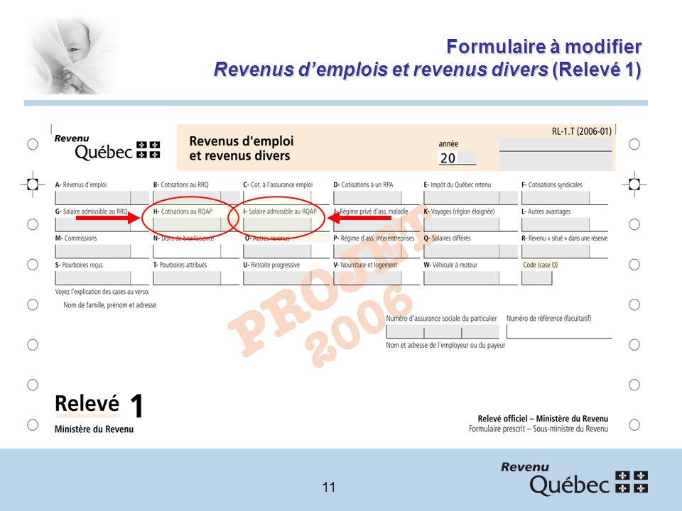 11 Formulaire à modifier Revenus demplois et revenus divers (Relevé 1)