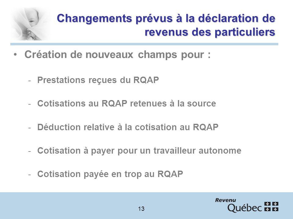 13 Changements prévus à la déclaration de revenus des particuliers Création de nouveaux champs pour : -Prestations reçues du RQAP -Cotisations au RQAP retenues à la source -Déduction relative à la cotisation au RQAP -Cotisation à payer pour un travailleur autonome -Cotisation payée en trop au RQAP