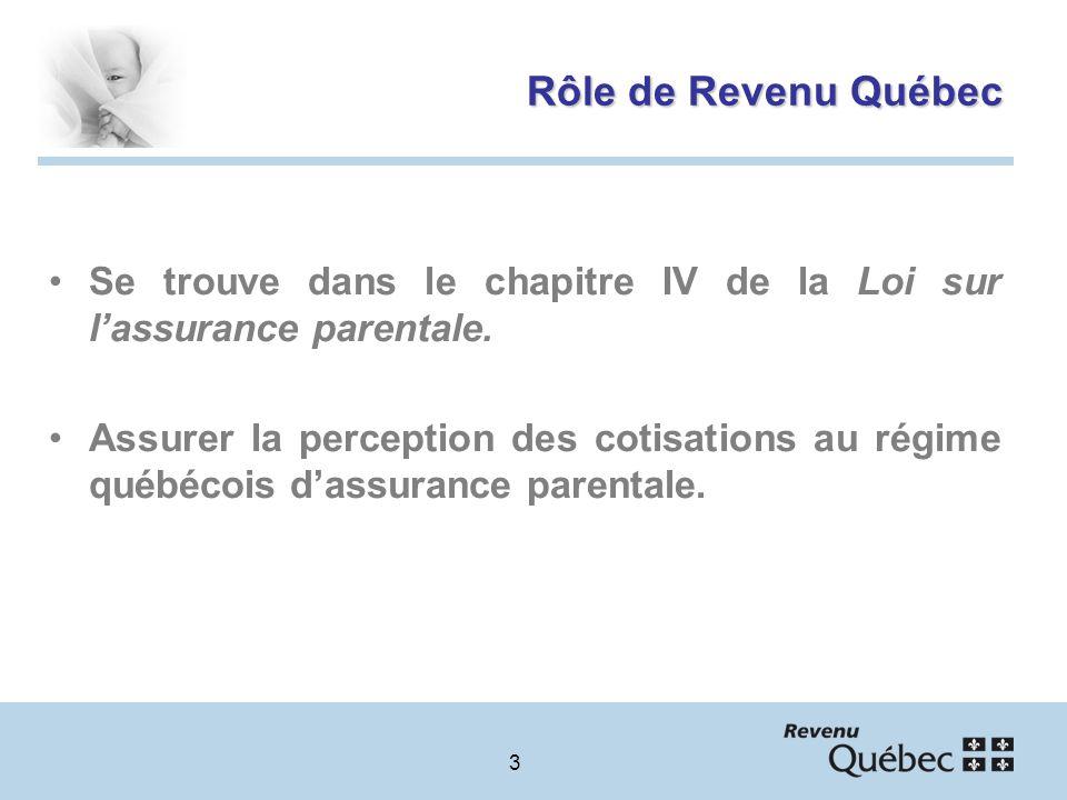 3 Rôle de Revenu Québec Se trouve dans le chapitre IV de la Loi sur lassurance parentale.