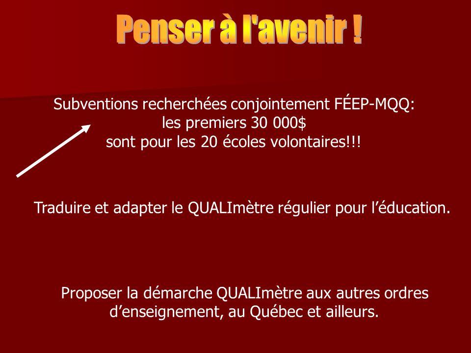 Subventions recherchées conjointement FÉEP-MQQ: les premiers 30 000$ sont pour les 20 écoles volontaires!!.