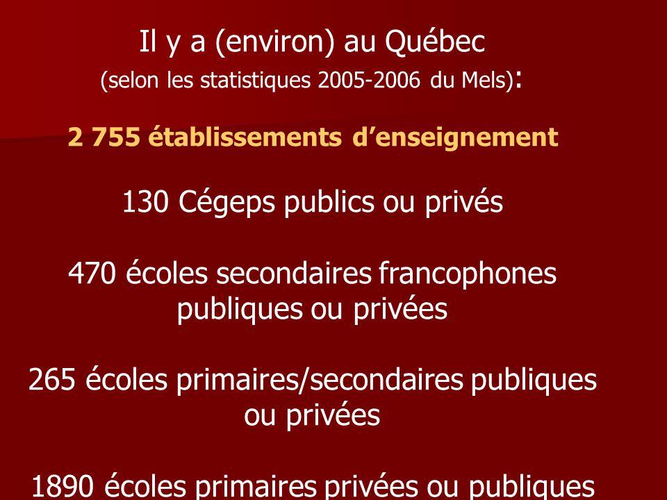 Il y a (environ) au Québec (selon les statistiques 2005-2006 du Mels) : 2 755 établissements denseignement 130 Cégeps publics ou privés 470 écoles secondaires francophones publiques ou privées 265 écoles primaires/secondaires publiques ou privées 1890 écoles primaires privées ou publiques