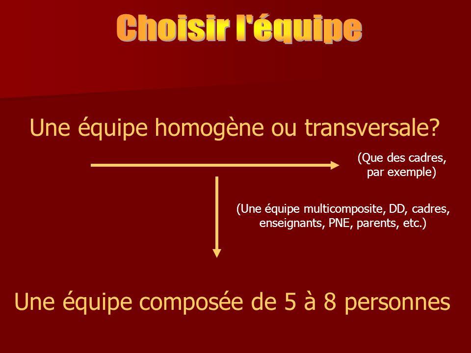 Une équipe homogène ou transversale.