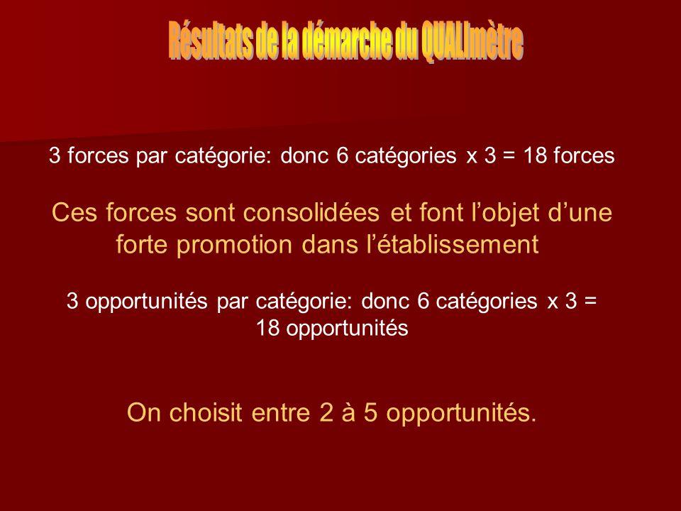 3 forces par catégorie: donc 6 catégories x 3 = 18 forces Ces forces sont consolidées et font lobjet dune forte promotion dans létablissement 3 opportunités par catégorie: donc 6 catégories x 3 = 18 opportunités On choisit entre 2 à 5 opportunités.