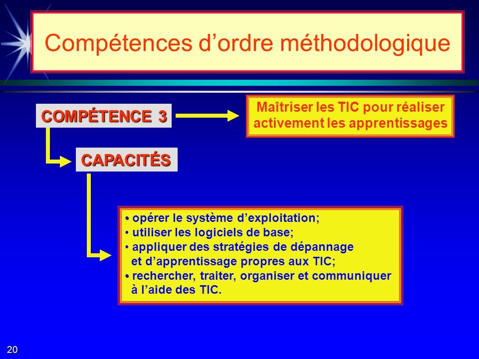 COMPÉTENCE 2 Compétences dordre méthodologique Mener à terme un projet CAPACITÉS concevoir un projet; planifier; exécuter; évaluer.