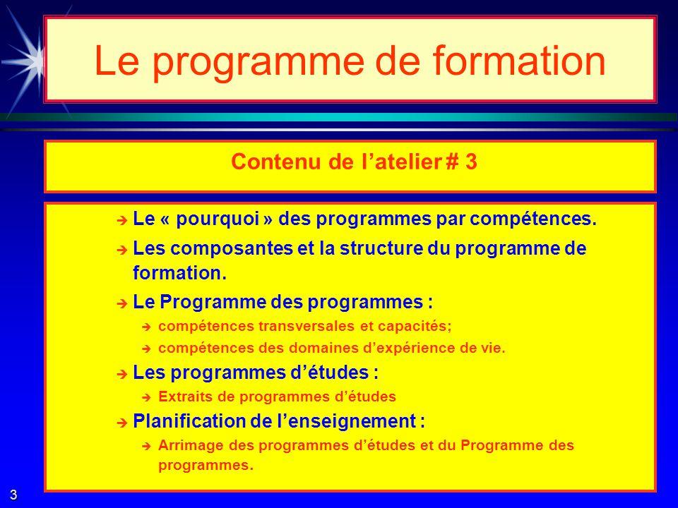 Compétences transversales Compétences des domaines de vie Compétences des domaines disciplinaires Le programme de formation 2
